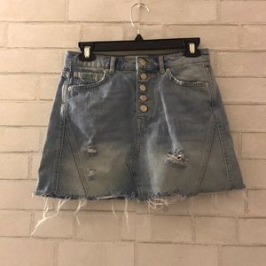 Free People Light Wash Distressed Denim Skirt